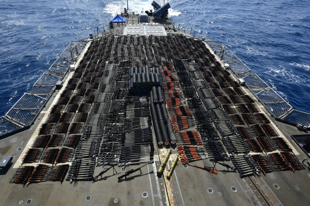 USS Monterey seizes weapons in the North Arabian Sea