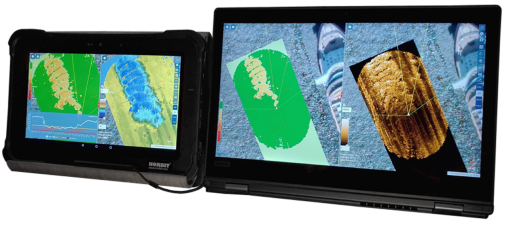 Fig. 2 NORdredge split screen display on two different clients with real time depth and differential depth on a tablet (left) and backscatter on a PC (right)