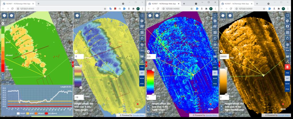 Fig. 3 NORdredge differential, real-time depth, STD and backscatter displays respectively