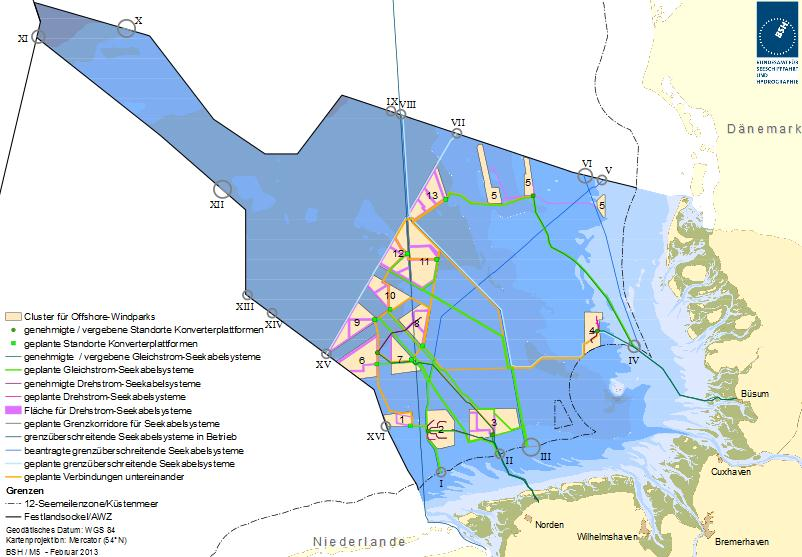 Map Of Germany North Sea.Germany Bsh Publishes Network Plan For North Sea Offshore Wind