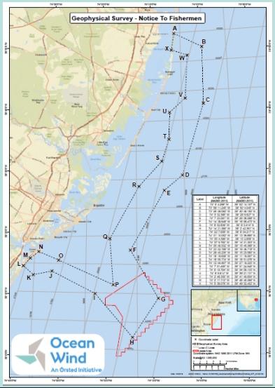 Ørsted Timetables Ocean Wind Geo Surveys