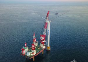 First Northern China Offshore Wind Turbine Spinning