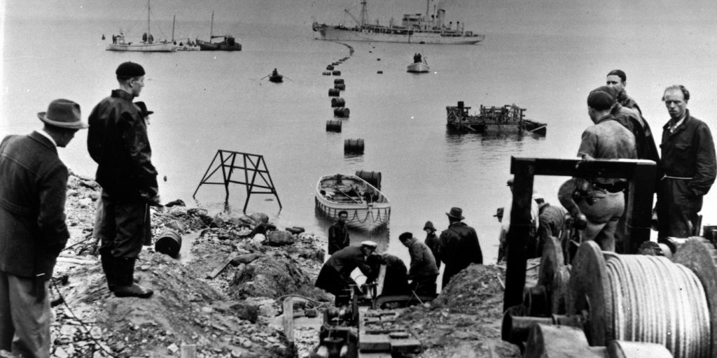 Figure 1. Installation of the world's first HVDC submarine cable, from the Swedish mainland to Gotland (1953)