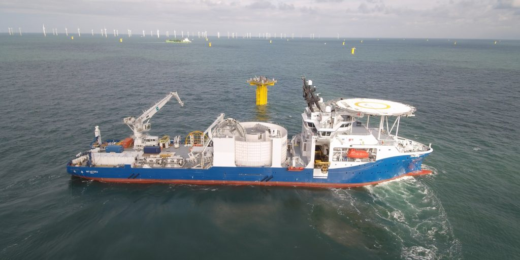 Figure 2. NKT Victoria (DP3) maneuvering during installation activities at the Rentel offshore windfarm
