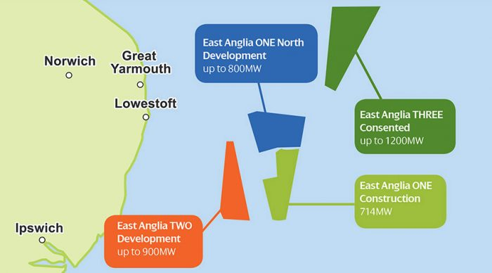 An image mapping offshore locations of each of the East Anglia Hub three projects
