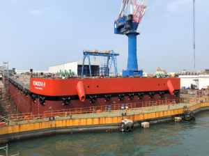 TIPC Marine Launches Offshore Wind Barge in Kaohsiung