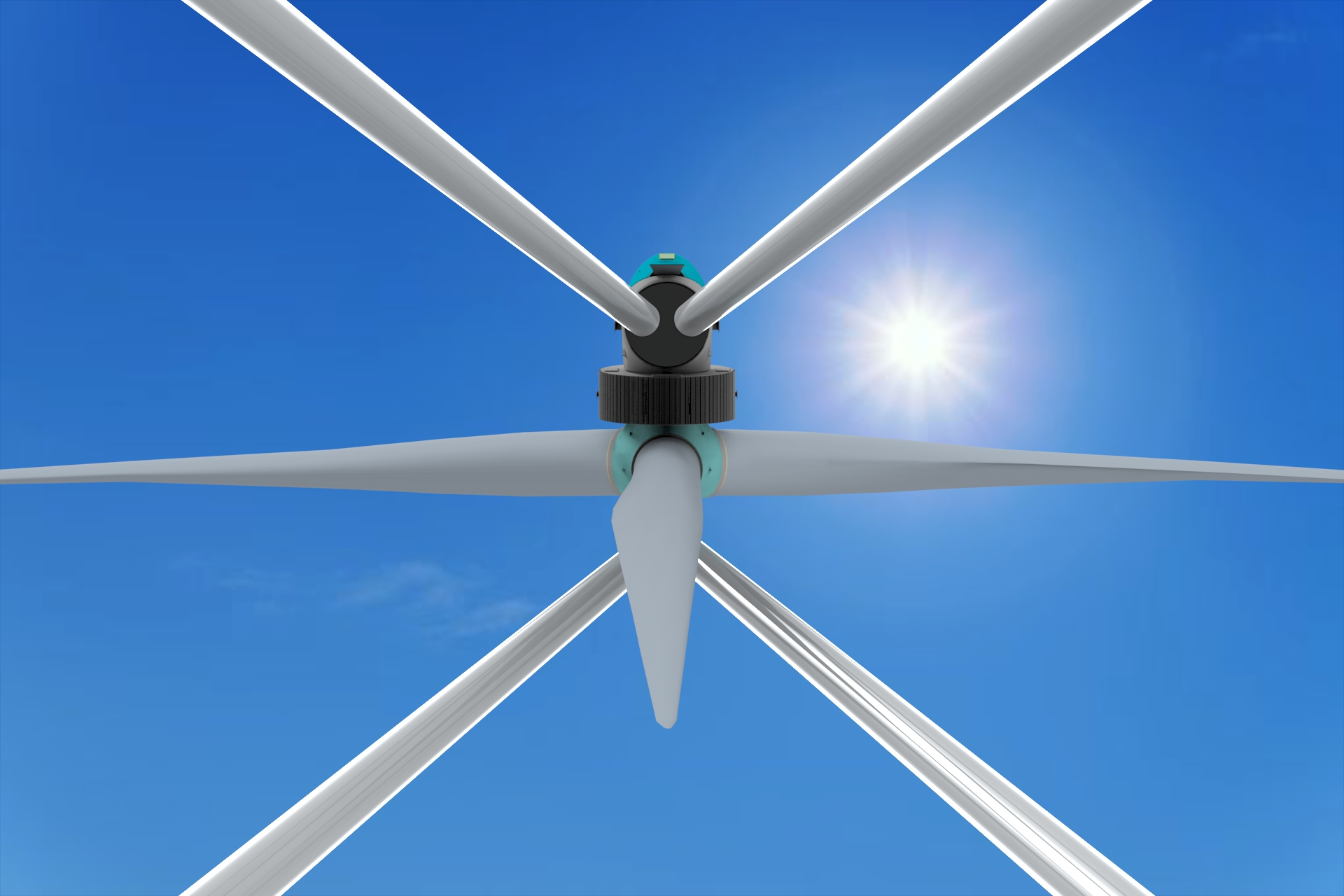 Image of Eolink's 5 MW floating wind turbine model, showing the top part with blades in focus
