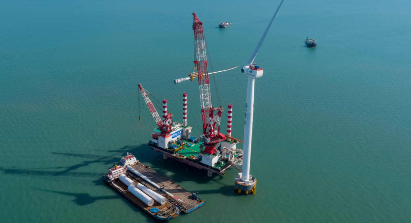 China's First 8 MW Wind Turbine Stands Offshore