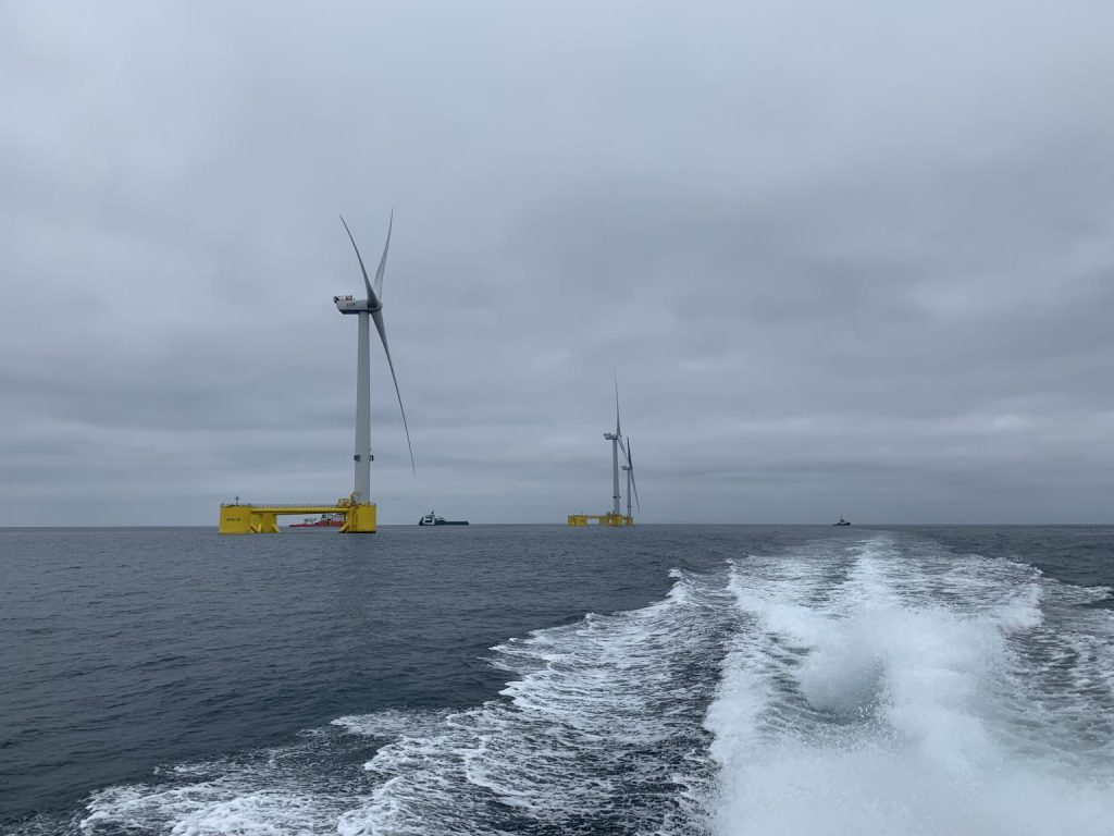 A photo of the WindFloat Atlantic site with all three turbines in place