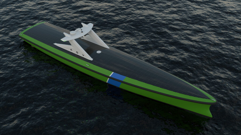 Image rendering aerial view of the autonomous guard vessel, with the solar panel visible on top