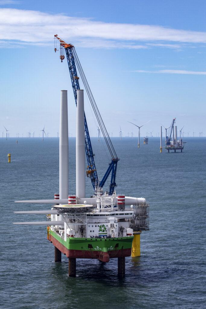 DEME's Sea Installer and Sea Challenger vessels installing Borssele 1 & 2 wind turbines