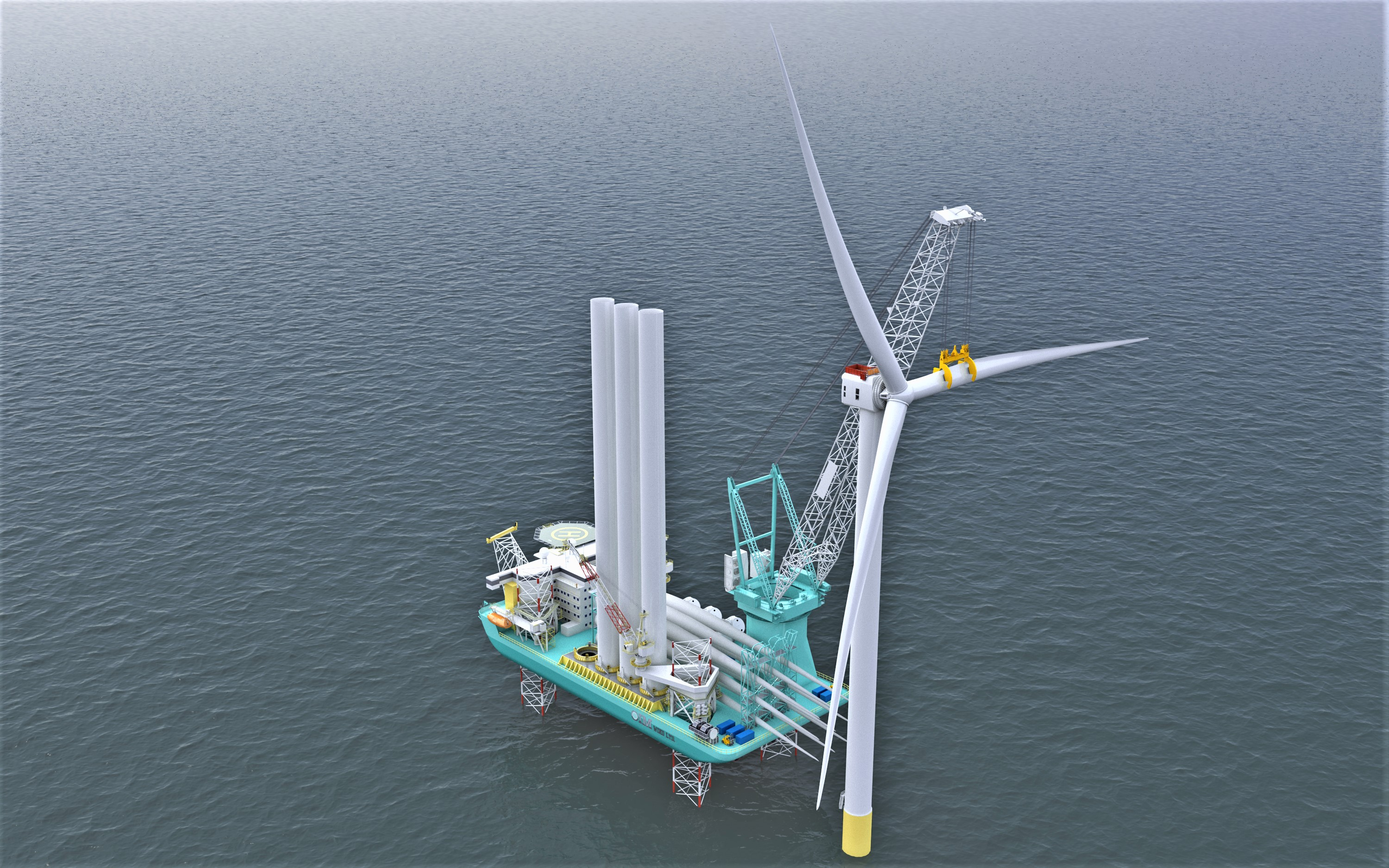 An image rendering new OIM vessel installing a next-generation wind turbine at sea