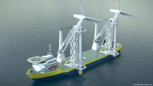 Offshoretronic Unveils Dual Crane Vessel, Add-On Installation Support Tower Concept