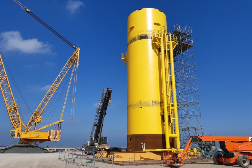 The mock-up foundation for Hollandse Kust Zuid at Sif's Maasvlakte site