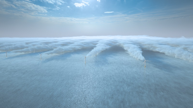 Wind turbines at sea with a wake visible behind each