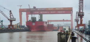 Alfa Lift Out of Dry Dock, Crane Installation Set for April