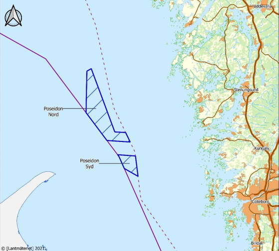 An image showing a map of the Poseidon offshore wind farm sites off Sweden