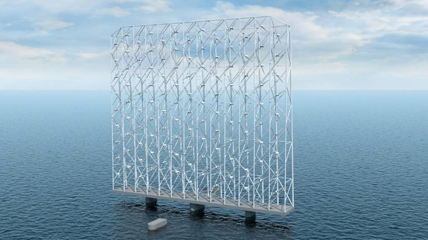 An illustration of one Wind Catching floating wind platform at sea