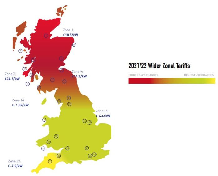 An image showing a heat map of network charges across Great Britain
