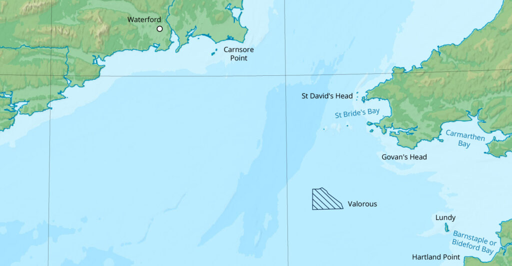 A map showing the location of the Valorous floating wind farm
