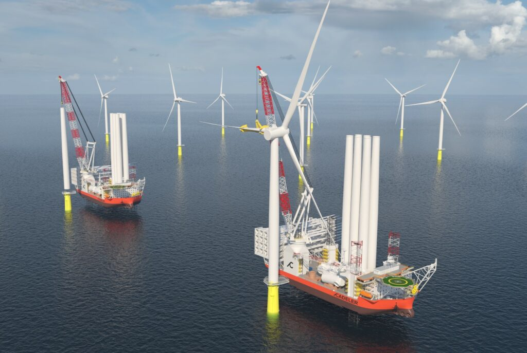 An image rendering Cadeler's new X-class vessels at sea