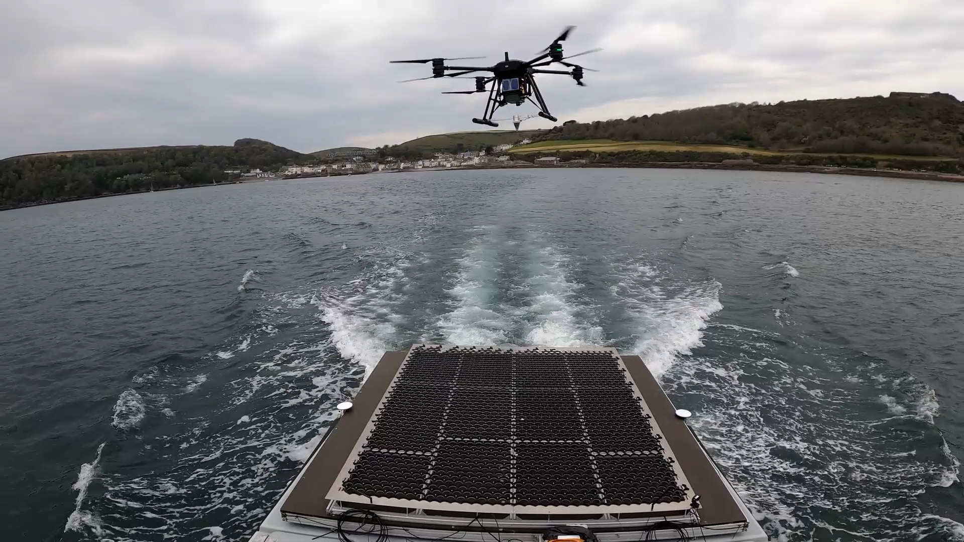 Drone launched from Thales' Halcyon vessel as part of MIMRee trials