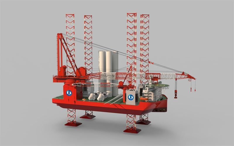 An image showing a 3D model of CTG's new wind turbine installation vessel