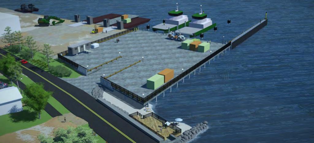 An image rendering Tisbury Marine Terminal after redevelopment