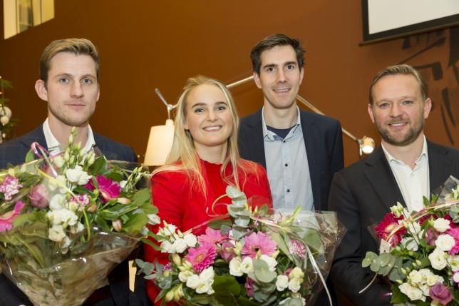 De finalisten van de Offshore Wind Innovation Award, Jelmer Jacobs van TWD, Josefien Groot van Qlayers, Ruben Geutjens van Qlayers en Jasper Winkes van Fistuca.