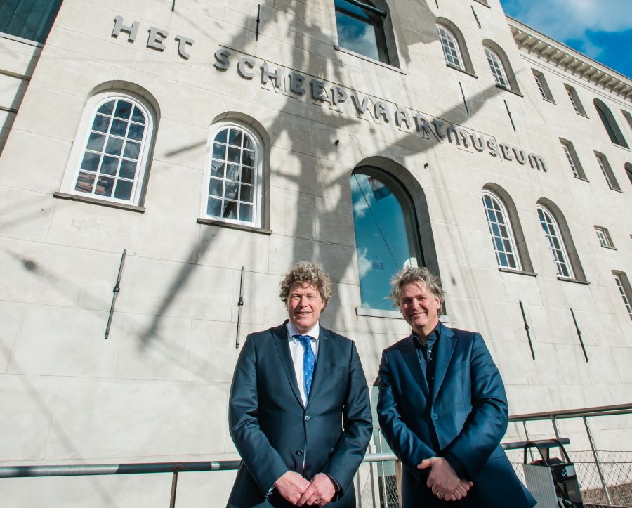Koen Overtoon, CEO van Port of Amsterdam en Michael Huijser van Het Scheepvaartmuseum. Foto: Dennis Bouman.