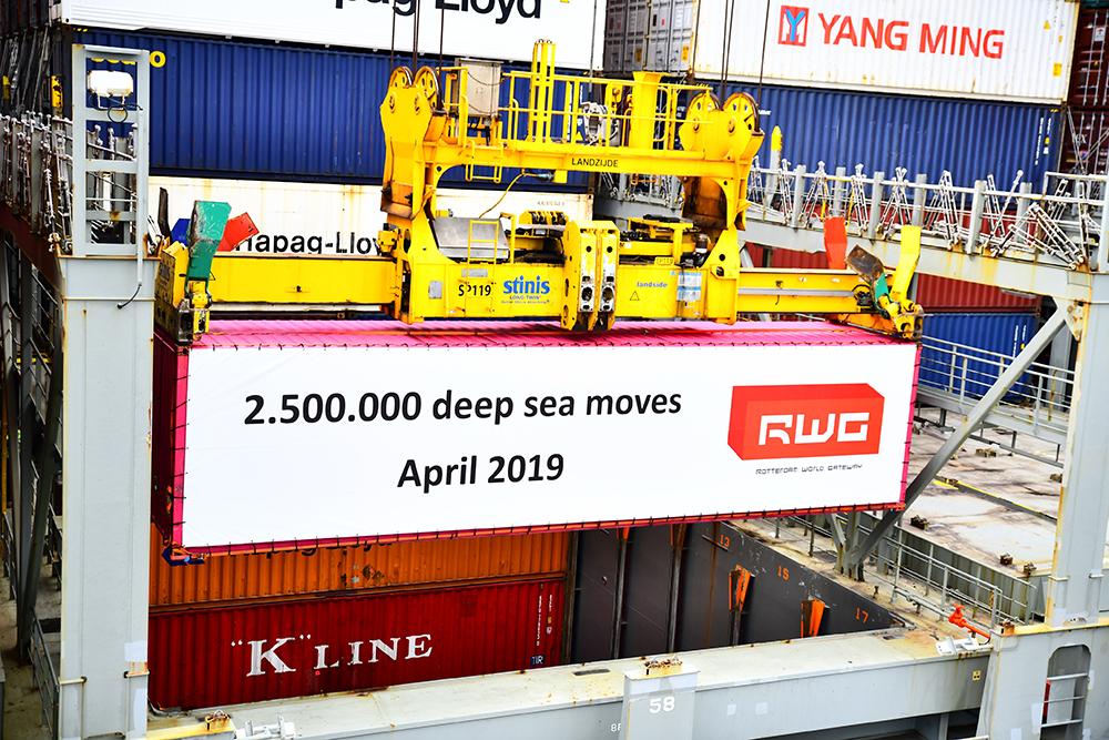2,5 miljoen deep sea containers overgeslagen bij RWG