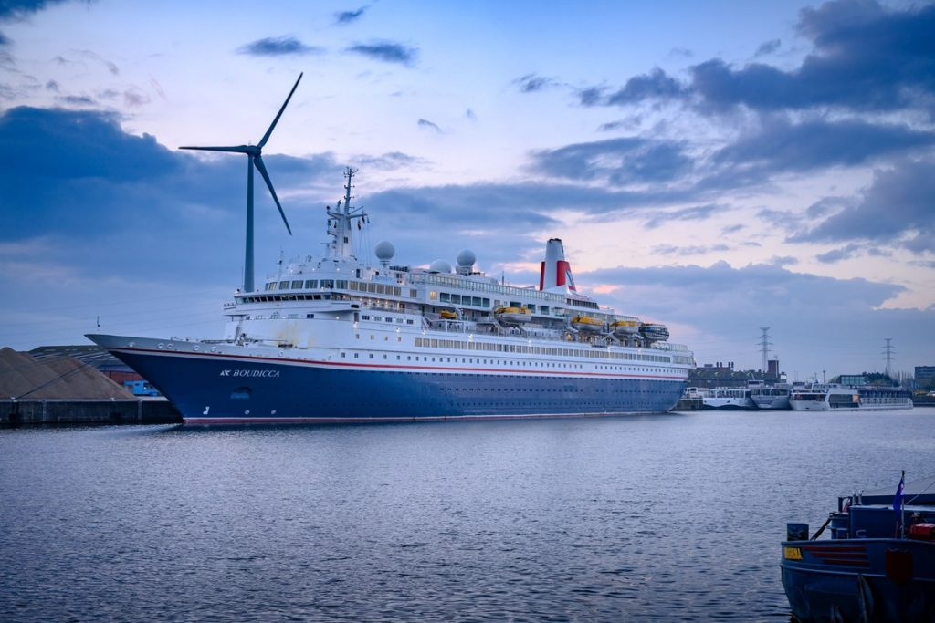 Cruiseschip 'MS Boudicca' in Gent. Foto, North Sea Port.