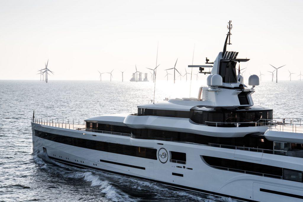 'Lady S' tijdens proefvaart op zee. Foto, Feadship.