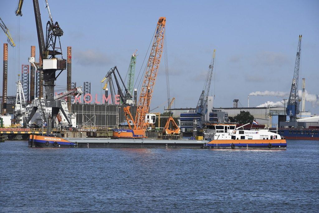 Rotterdam 9 mei 2019 LNG aangedreven kraanschip Werkendam van Paans Van Oord baggert voor het eerst in de Rotterdamse haven foto Ries van Wendel de Joode/HBR