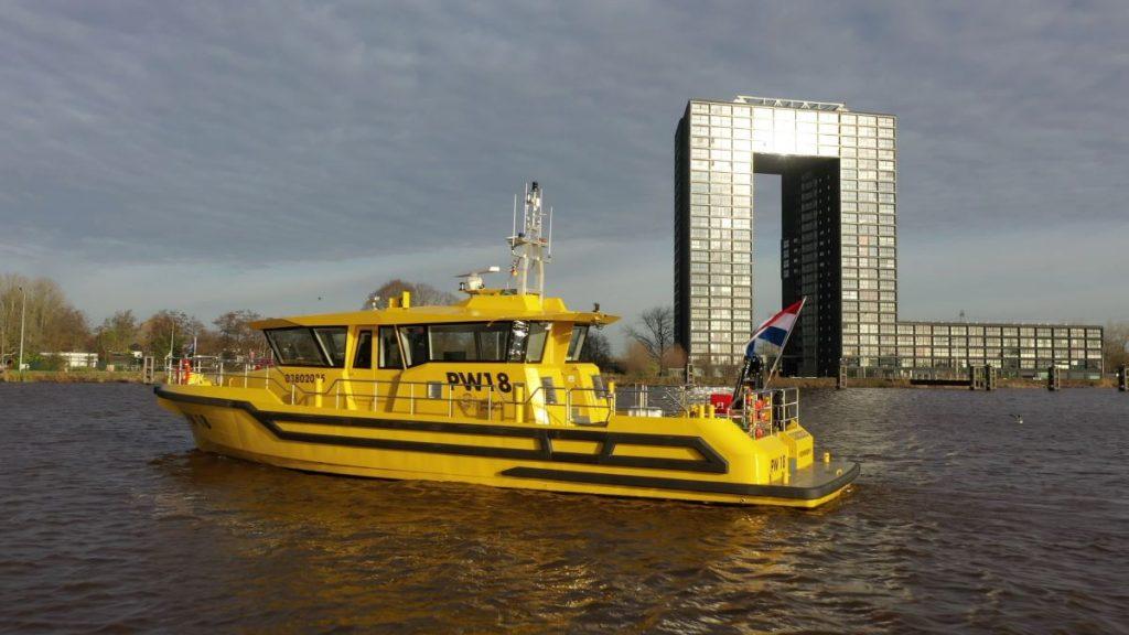 PW18 volledig elektrisch inspectieschip van Provincie Groningen Foto Niestern