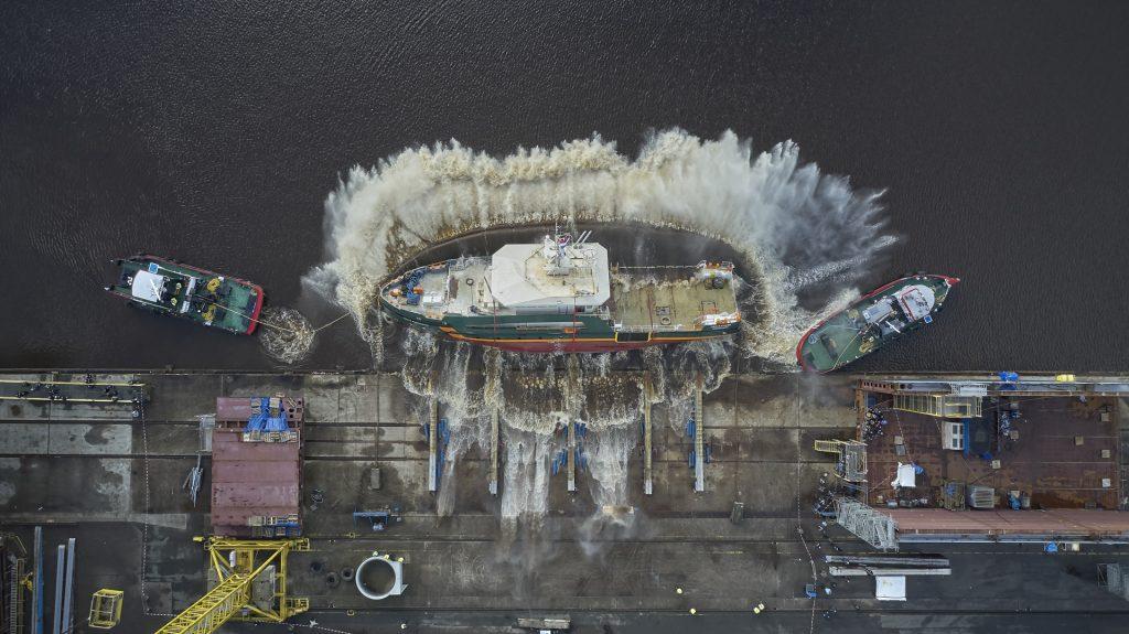 Onderzoeksschip Geo Ranger gaat te water. Foto Koninklijke Niestern Sander.