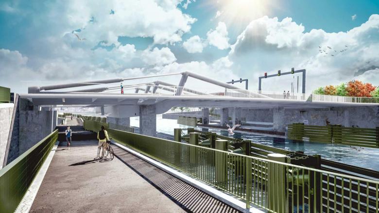 Nieuw ontwerp Meulestedebrug. Foto, De Vlaamse Waterweg