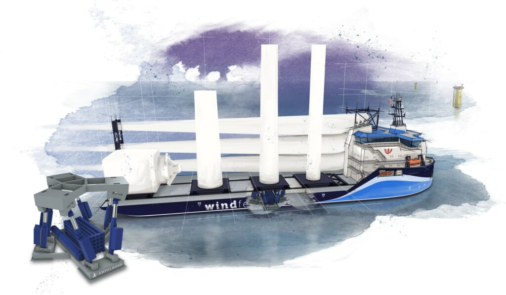 WInd Feeder Vessel open. Ampelmann and C-Job Naval Architects