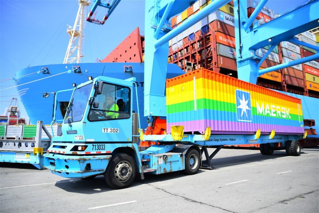 Rainbow containers at APM Terminals Maasvlakte II.
