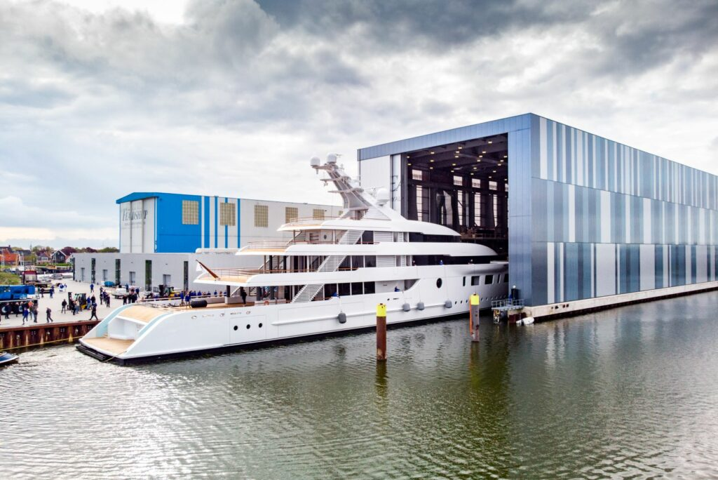 Launch of 95 metre 'Bliss' at Feadship yard in Makkum. Photo, Feadship.