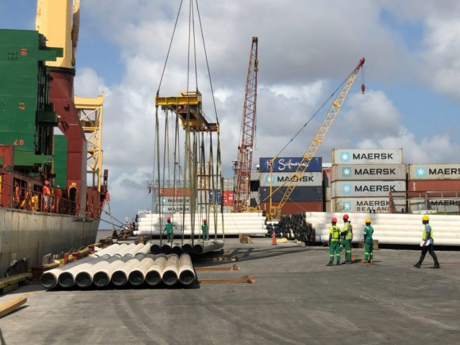 Saipem pipes offloaded / Image by The Department of Public Information of Guyana