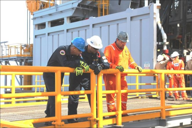 For illustration only; A BSEE inspector on an offshore platform - Image by BSEE