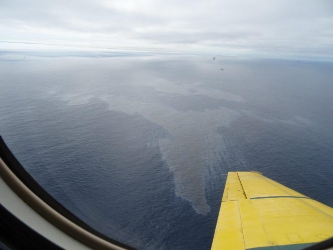 A photo of the Hibernia slick shared on July 18 by C-NLOPB