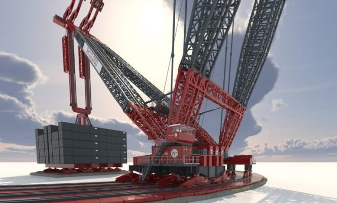 Illustration; Ale's newnew SK10,000 crane, claiming it to be the world's largest capacity land-based crane
