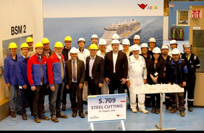 Meyer Werft cuts steel for AIDA Cruises second LNG-fueled liner