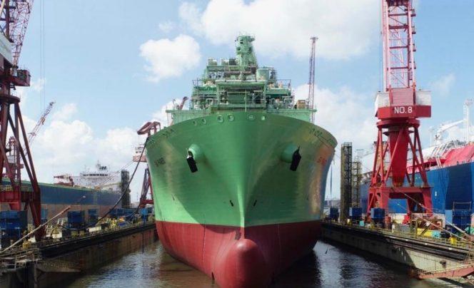 FSRU BW Paris sails out of Keppel shipyard