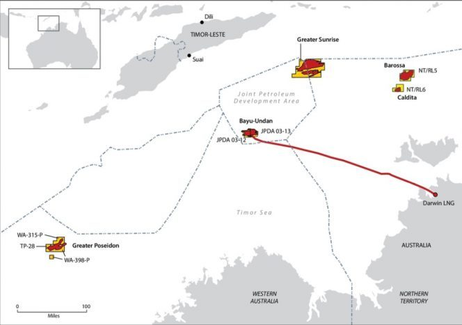 The maps shows the oil and gas fields in the Timor Sea with border showing the JPDA which will now fall under the Timorese juristiction