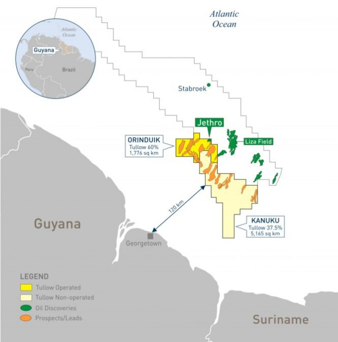The maps shows Tullow's Orinduik block near Exxon's Stabroek block where more than a dozen oil discoveries have been made over the past three years