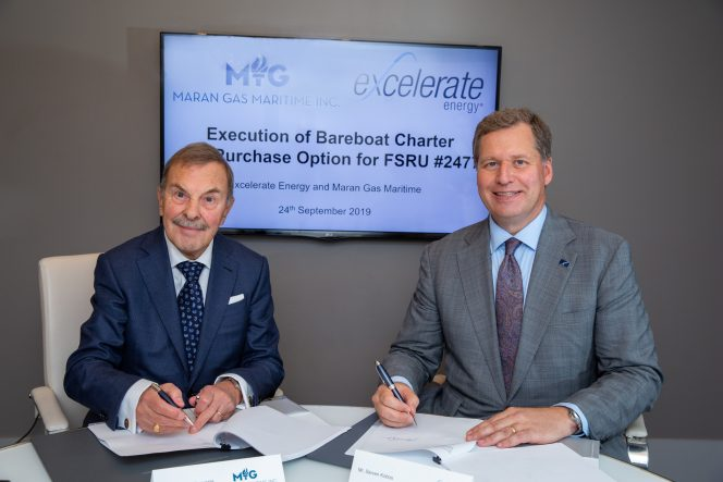 Excelerate inks FSRU newbuild charter with Maran Gas Maritime