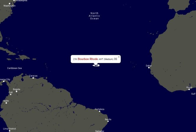 The vessel's location on Thursday, September 26 - Map generated by VesselsValue